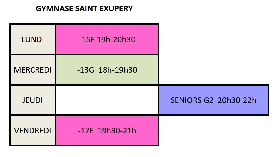 Créneaux ST EX 2020-2021